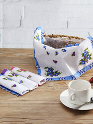 <US Instock>10Pcs Random Handkerchief Pure Cotton Vintage Ladies Women Printing Pocket Floral Flowers Quadrate Hanky