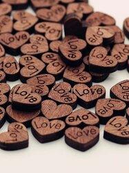 100Pcs Love Retro Button Wooden Button