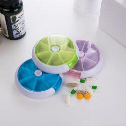 Round Pill Box Storage Box Rotating Portable Pill Box