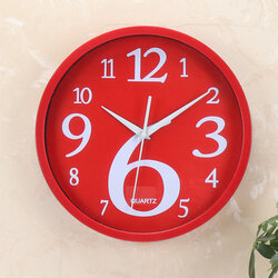 Round Home Wall Clock Creative Fluorescent Solid Color Wall Clock Korean Home Digital Wall Clock