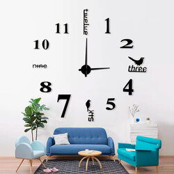 Acrylic 3d Large Creative Wall Clock European Living Room Art Diy Mirror Wall Stickers Hanging Table Fashion Simple Clock