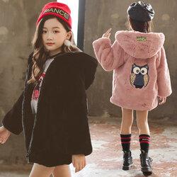 Category: Dropship Kids & Mom, SKU #SKUD71958, Title: Girl child big cartoon owl thick wool sweater Coat