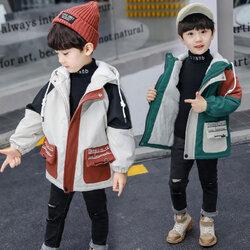 Category: Dropship Kids & Mom, SKU #SKUE21739, Title: Boys Cotton Mixed Color Plus Windbreaker Loose Warm Coat