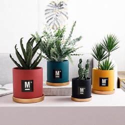 Ceramic Flower Pot Succulent Green Plant Flower Pot Modern Simple Wind Straight With Tray