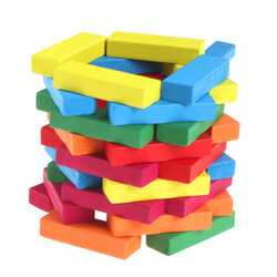 51 pcs Multi-colored Wooden Tumbling Stacking Tower Building