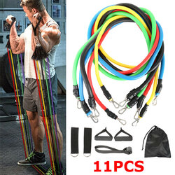 11pcs/set Fitness Resistance Bands Sport Pull Rope Yoga Band Home Gym Exercise Tools