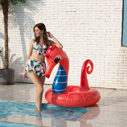 Seahorse Mount Inflatable Red Adult Floating Row Thickened Pvc Swimming Ring Ins