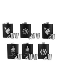 4 Patterned Black Silk Takeaway Hip Flask Portable Hip Flask Father's Day Gift