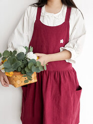 Korean Pleated Apron Cotton Shop Coffee Shop Overalls Princess Style Simple Thickened Apron