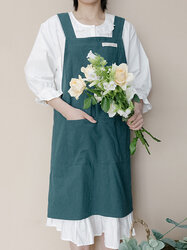 Japan And Korea Simple Style Cotton And Denim Apron High-end Simple Solid Color Smock Kitchen Apron