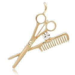 Scissors Comb Men Brooch