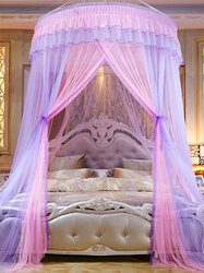 Home Textiles Hanging Dome Princess Mosquito Net Free Installation Bed Mantle Floor Mosquito Net Adult