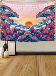 Wall Hanging Tapestry Wave Tapestry Sunset Landscape Tapestry Bedside Background Cloth