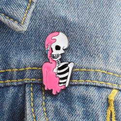 Half Pink Skull Brooch