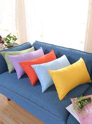 Pillowcase Rectangular Cotton And Linen Pillow Color Nap Pillow Plus Long Sofa Car Waist Pillowcase