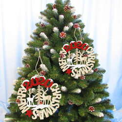 2Pcs Merry Christmas Wooden Pendant Xmas Birthday Party Decoration Craft Wall Tree Hanging Ornaments