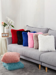1Pc Solid Cushion Cover Long Plush Decorative Throw Pillow Cover Seat Sofa Embrace Pillow Case Home Decor