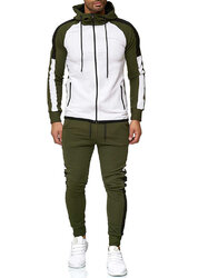 Mens Contrast Patchwork Hooded Sweatshirts Drawstring Waist Pants Two Pieces Outfits