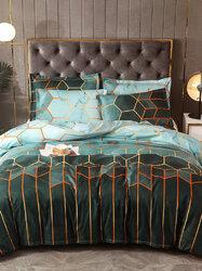 2/3Pcs Geometric Bedding Set Blue Black Golden Duvet Cover Sets Polyester Bed Cover Pillowcase Queen King Size