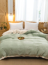 1 Pc Flannel Double-Use Quilt Cover Double-Sided Winter Thick Warmth Sofa Bedroom Green Milk Fleece Blanket