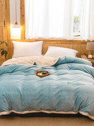1 Pc Flannel Double-Use Quilt Cover Double-Sided Winter Thick Warmth Office Nap Blue Milk Fleece Blanket