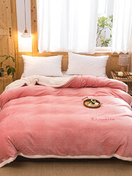 1 Pc Pink Flannel Double-Use Quilt Cover Double-Sided Winter Thick Warmth Office Nap Milk Fleece Blanket
