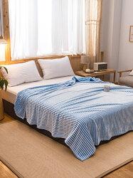 1 Pc Blue Winter Double Thick Warmth Coral Fleece Blanket Bedroom Nap Magic Fleece Blanket Sheet