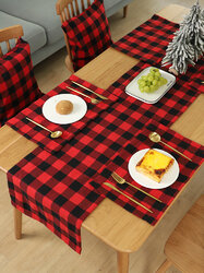 1Pc Christmas Decoration Supplies Lattice Cloth Placemat Table Knife And Fork Plate Placemat Lattice Tablecloth