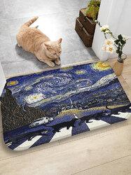 Cats Pattern Floor Mats Flannel Water Absorption Antiskid Floor Mat Bath Room Door Mat