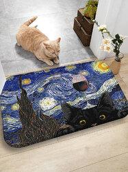 Cat Pattern Floor Mats Flannel Water Absorption Antiskid Floor Mat Bath Room Door Mat