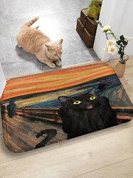 Black Cat Pattern Floor Mats Flannel Water Absorption Antiskid Floor Mat Bath Room Door Mat