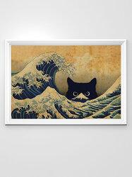 Hidden Cat Pattern Canvas Painting Unframed Wall Art Canvas Living Room Home Decor