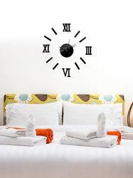 DIY Luxury 3D Mirror Wall Clock Art Decor Sticker Mute Wall Clock