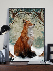 Fox And Tree Pattern Canvas Painting Unframed Wall Art Canvas Living Room Home Decor