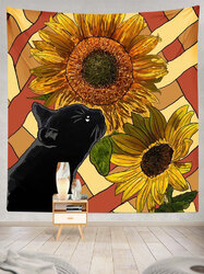 Black Cat And Sunflower Pattern Tapestry Art Home Decoration Living Room Bedroom Decoration