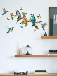 Colorful Birds And Branches Pattern Self-adhesive Bedroom Living Room Sticker Wall Art Home Decor