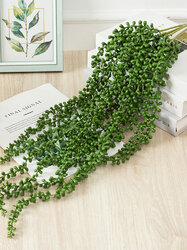 1PC 77/62/50cm Three Branches Artificial Simulation Plant Succulent Beads Fake Wall Hanging Vine Rattan String of Pearls Lover Tears Plants for Home Wedding Party Garden Hotel Decor Faux Plants