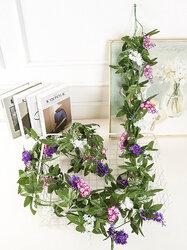1PC 250cm Artificial Hanging Hyacinth Flowers Vine Autumn Cane Backdrop Decor Silk Romantic Fake Simulation Rattan Garland For Wedding Home Wall Hotel Decoration