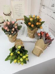1PC Potted Wild Fruit Artificial Flower Newspaper Pot Bonsai Home Office Garden Decor Artificial Green Leave Plant Decoration