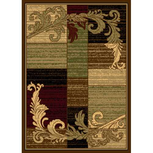 Wreath Leaf Brown/Beige Area Rug