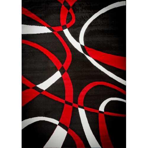Katelynn Black/White/Red Area Rug 8 ft. by 10 ft.
