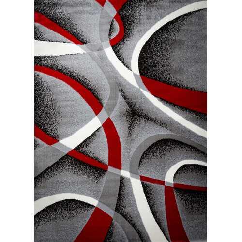 Katelynn Gray/White/Wine Red/Black Area Rug 3 ft. by 5 ft.