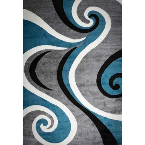 Blacksmith Swish Blue/Gray Area Rug 5 ft. by 7 ft.