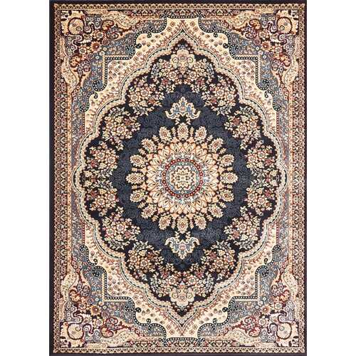 Msrugs Traditional Oriental Medallion Navy Beige Area Rug Persian Style Rug 1050