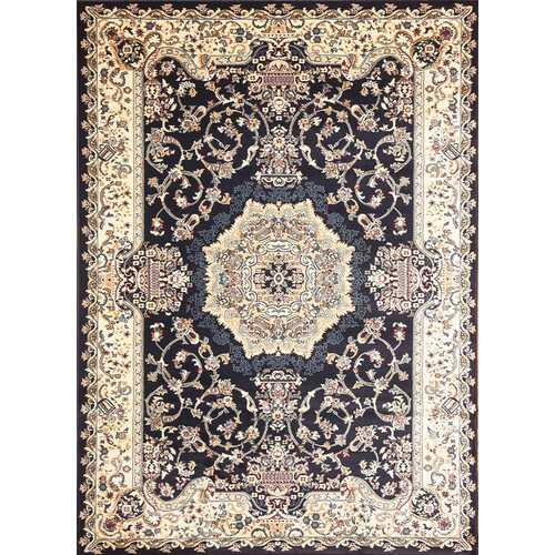Msrugs Traditional Oriental Medallion Navy Beige Area Rug Persian Style Rug 150
