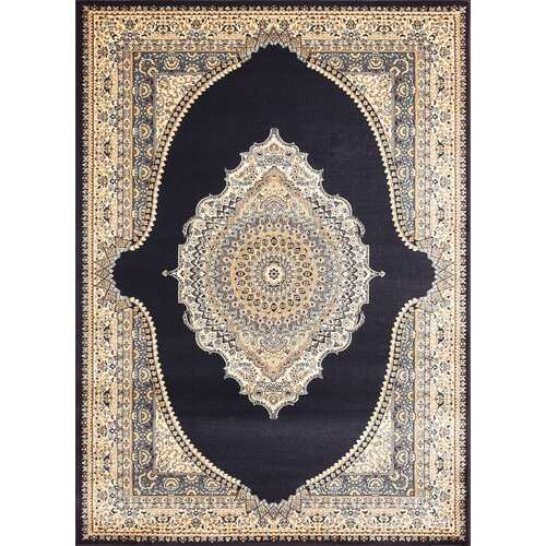 Msrugs Traditional Oriental Medallion Navy Beige Area Rug Persian Style Rug 600
