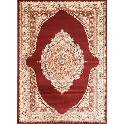 Msrugs Traditional Oriental Medallion Red Beige Area Rug Persian Style Rug 650