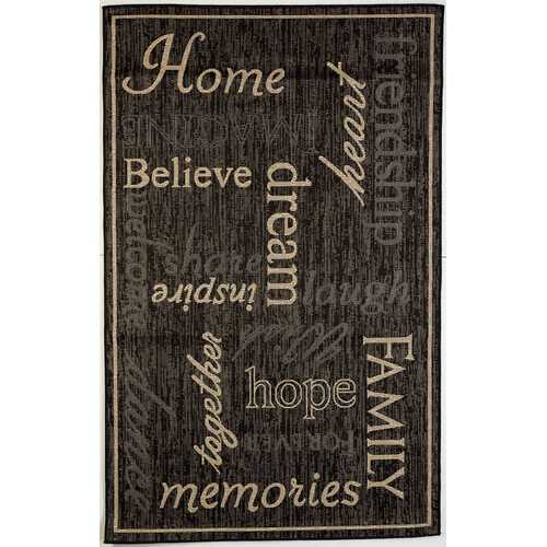 Home Family Indoor/Outdoor Black Rug
