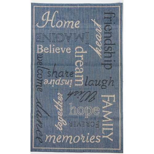 Home Family Indoor/Outdoor Blue Rug