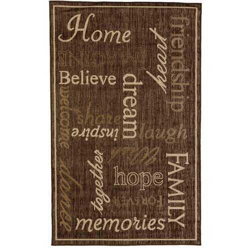 Home Family Indoor/Outdoor Dark Brown Rug